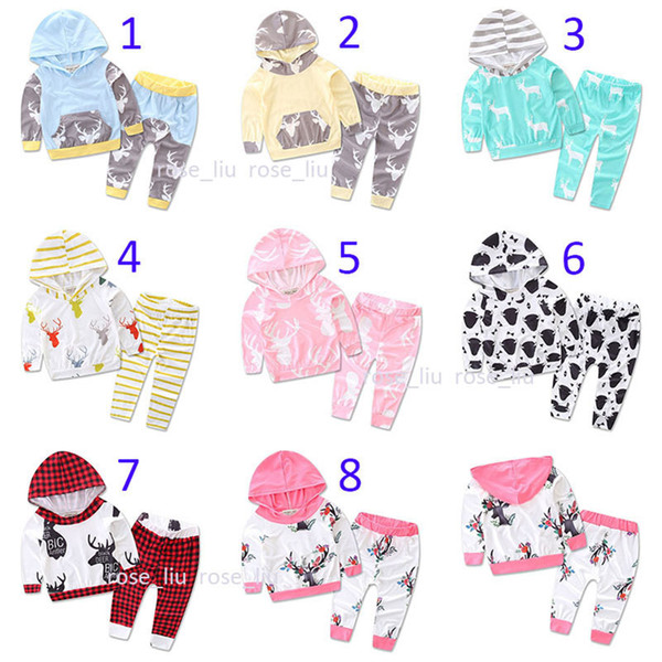 8 Styles Baby Christmas INS moose Print Outfit Autumn Winter Toddle Cute set Long Sleeve Hooded deer pattern Tops+Pants 2pcs Sets B