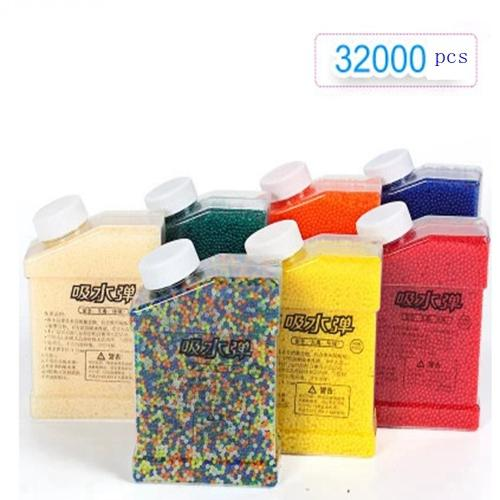 wholesale 7-8mm/9-11mm Crystal bullets 32000 Pcs/pack Water Guns Pistol Toys Growing Crystal Water Balls Mini Round Soil Water Beads
