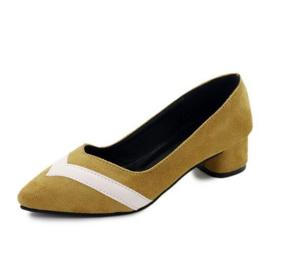Women's Midi Heels Pumps Sexy Bride Party Thick Heel Pointed Toe Suede leather Shoes for office lady Women