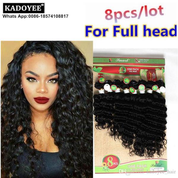 Kadoyee derin gevşek dalga saç örgü% 100% Brezilyalı İnsan bakire remy saç uzatma 8 adet / grup için tam kafa ombre renk yumuşak sağlıklı son