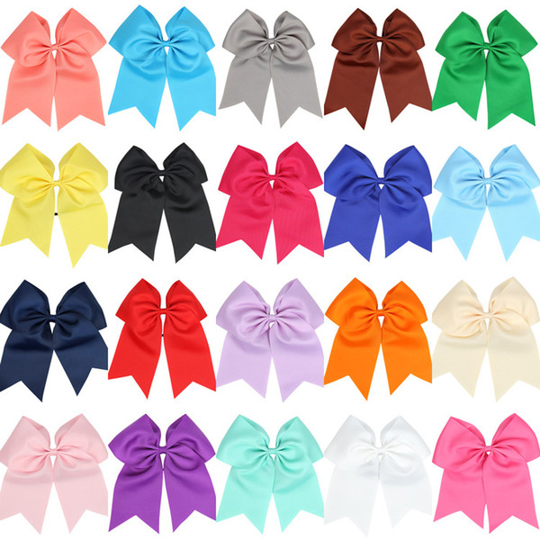 """best selling Wholesale 8"""" Large Cheer Bow Baby Girl Solid Ribbon Cheer Bows With Alligator Clip Handmade Girls Cheerleading Bows 25Pcs lot"""