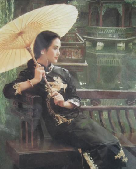 100% Hand Painted Frameless Wall Art Beautiful Girl Chinese under Umbrella Style Classical Bedroom Canvas Oil Painting