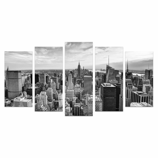 5 Pieces HD Printed City Canvas Art Printing Black and White Cityscape Wall Picture for Living Room No Frame/VA170814-5