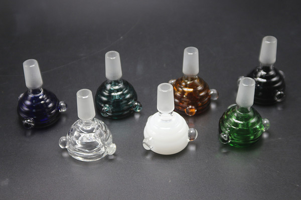Colorful Glass Bowl With Handle 14mm 18mm Male Joint For Glass Bubbler And Ash Catcher Glass Bong Water Pipe Dab Tool