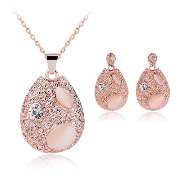 New Pear Crystal Gota De Água Colar Brincos Conjuntos de Jóias para As Mulheres Meninas Moda Jóias Presente 162049