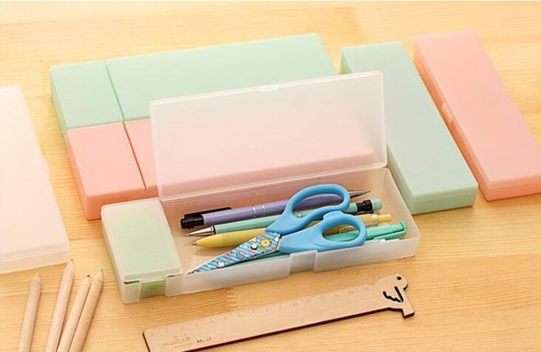 Cute Plastic Pencil Case Bag Pen Box Transparent Frosted Plastic Kids School Gift Office School Supplies Stationery