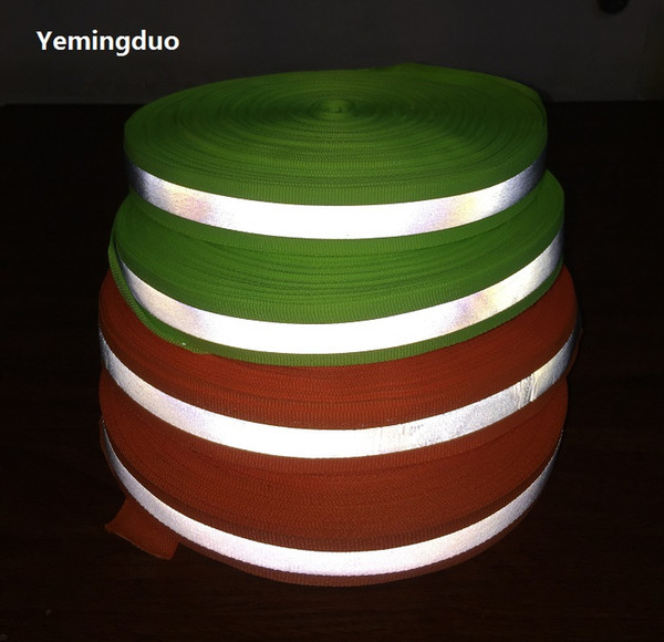 top popular 5CM*100M High Visibility Fluorescent Green Orange Reflective Ribbon Warning Safety Tape Apparel Sewing Notions traffic safety warning strip 2021