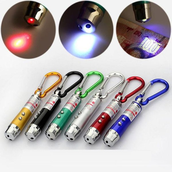 new arrival multi-functional mini 3 in1 led laser light pointer key chain flashlights mini torch flashlight money detector light