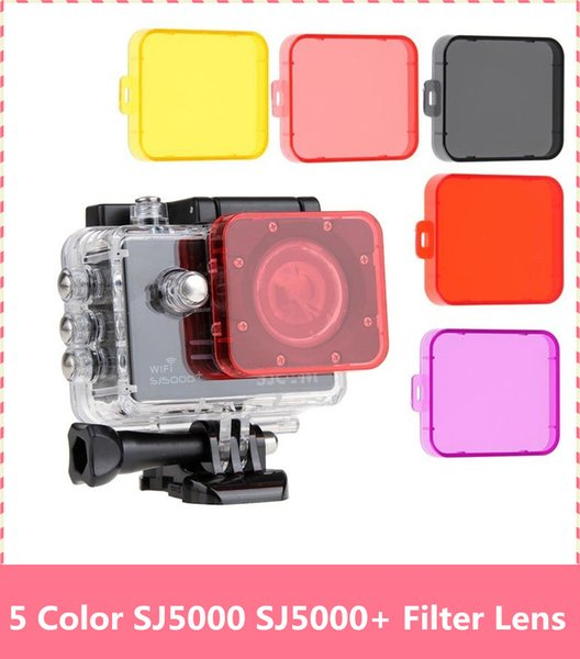 Wholesale- 5pcs/set SJCAM SJ5000 Filter Lens For SJ5000+ Plus Action Camera Accessories Diving Protective SJ5000WIFI UV Circle Mirror Cover