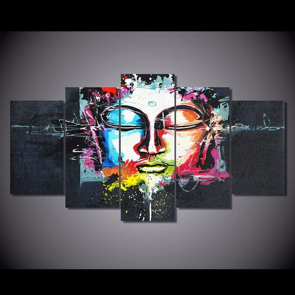 New abstract Buddha Canvas Painting 5 Pieces Unframed HD Printed Modern Art Picture Home Wall decor