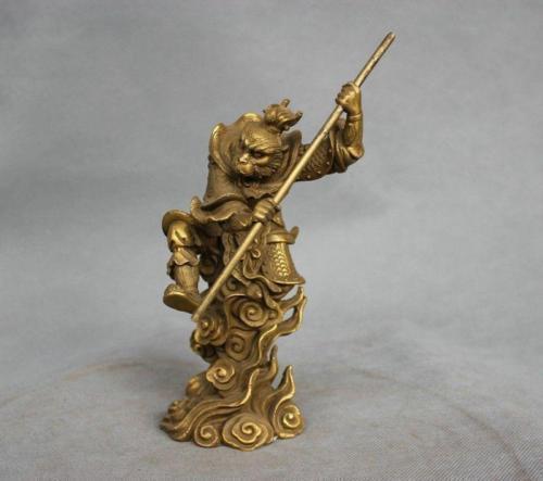 8'' China Myth Bronze Sun Wukong Monkey King Hold Stick Fight Statue