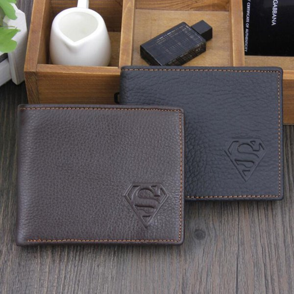 New Arrivals Trendy Superman S Pattern Genuine Cowhide Leather Short Wallets Credit Card Holder Coin Purse Notecase for Men