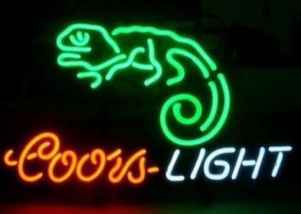 "Coors Light Gecko Neon Sign Lighting Real Glass Tube Custom Handmade Pub Store Shop Beer Bar Advertisement Display Neon Signs 19""X15"""