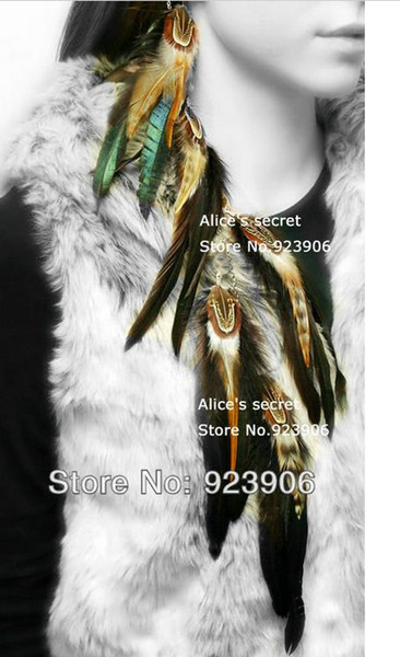 peacock feathers wild grizzly Feather Hair Clip in/on Extension natural feather hair wear hair piece 2pcs/lot