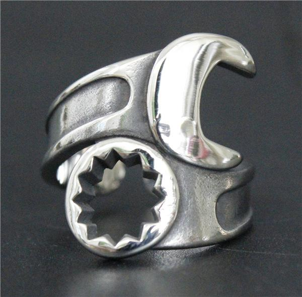 Wholesale Price Newest Biker 316L Stainless Steel Motorcycles Biker Ring Band Part Punk Biker Silver Spanner Ring
