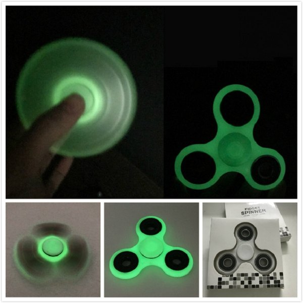 best selling Glow in dark Hand Spinner Fingertips Spiral Fingers Gyro Torqbar Fidget Spinner Glow In The Dark Tri Spinner Decompression Toys