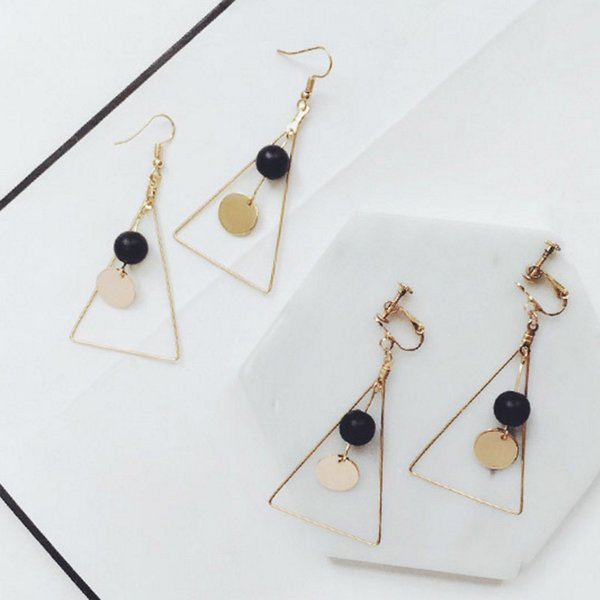 best selling XS Vintage Long Hollow Triangle No Ear Hole Clip Earring Black Ball Decoration Pendant For Women Hook Earrings HD013