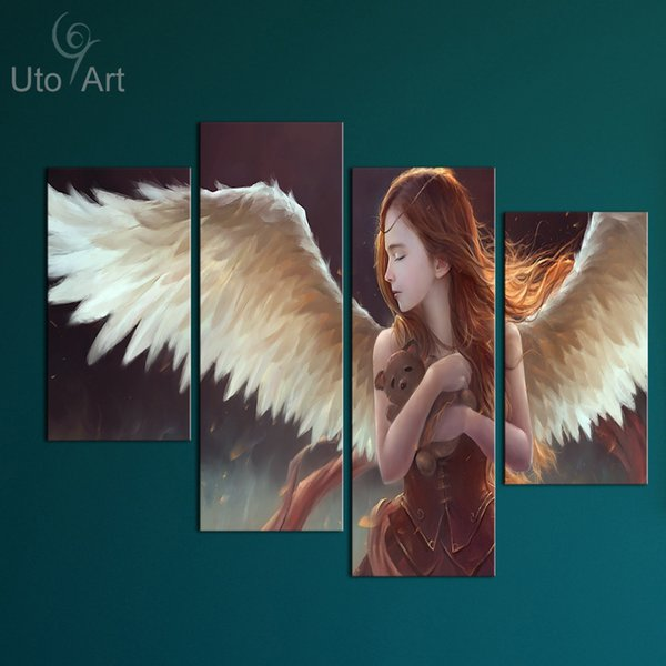 Modern 4 Piece Canvas Art Wall Decoration Painting Custom Canvas Angel Decorative Picture Digital Printing for Kid's Room Decor