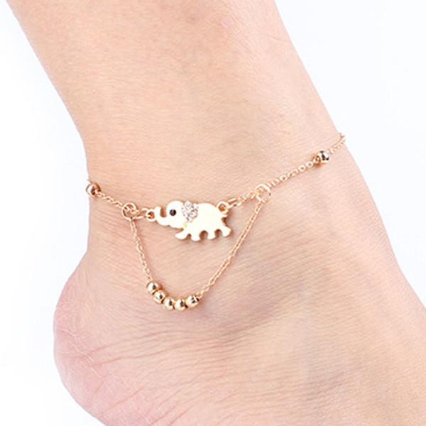 Cadena de la pulsera del encanto del pie del diseño del elefante cristalino - Tobilleras del tobillo de la manera de la aleación del metal de Gril de las mujeres - Tobilleras descalzas de la playa de la sandalia