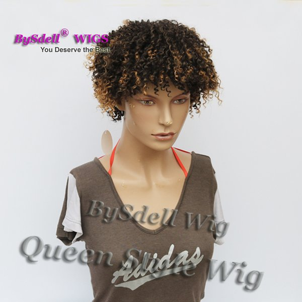 Super Sexy Young Black men/ Woman Hairstyle Wig Synthetic Short Pixie Cut Spring Kinky Curly Hair Wig Two Tone Ombre Brown Color Wigs