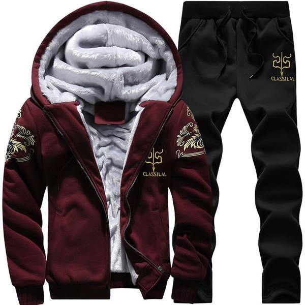 Men Tracksuit Set Winter Fur Lining Thicken Hoodies Casual Zipper Solid Warm velvet thickening with hood cardigan sweatshirt