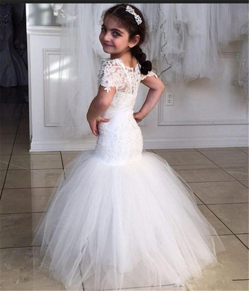 Kids Prom Dress Vestidos Primera Comunion Para Ninas 2019 White Tulle Mermaid Flower Girl Dresses With Short Sleeves Wedding Shop Flower Dress From