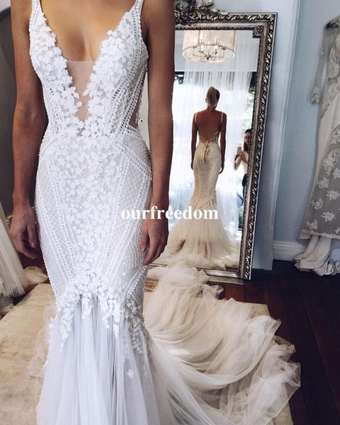 2017 Berta pallas couture Mermaid Wedding Dresses Deep V Neck Sexy Back Unique Lace Sweep Train Summer Spring Bridal Gown Custom Made Real