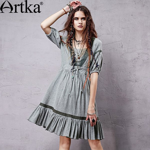 Vestido de verano con manga corta para mujer, estilo vintage, con manga corta y manga corta hasta la rodilla, vestido informal LA14354X