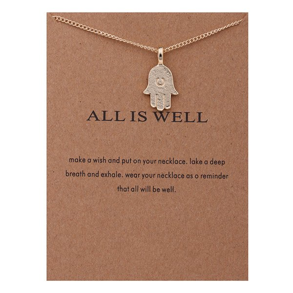 2017 Fashion Dogeared Necklaces With Card Gold ALL IS WELL Hamsa hand charms Pendant necklace For women Jewelry Gift Wholesale