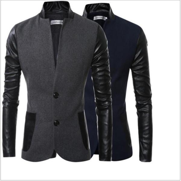 Vente en gros - Hommes blazers 2017 nouveaux hommes de conception de mode PU cuir Patchwork hommes Fit mince manteau costume costume veste livraison gratuite