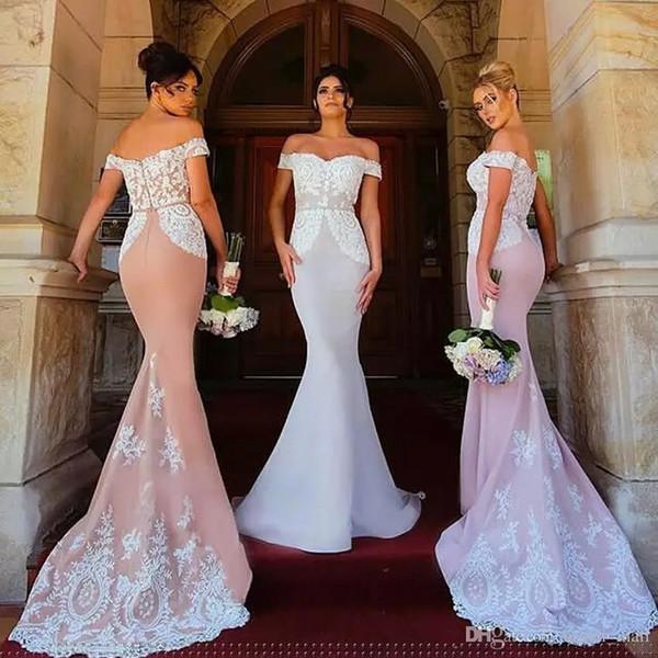 Off The Shoulder Sirène Robes De Demoiselle D'honneur 2017 White Lace Appliques étage Longueur demoiselle d'honneur robes longue robe de bal robe de fête