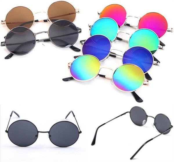 1e3fb6f4e970f Crianças retro óculos de sol moda rodada quadro óculos de sol crianças  estilo vintage lente colorida