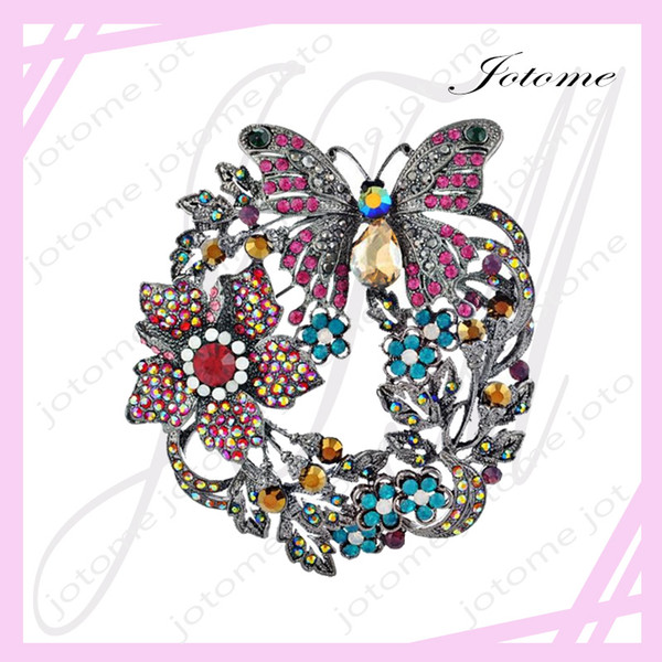 100PCS/Lot Butterfly Brooch Women Jewelry Accessories Brooch Vintage White & Gold Plated Colorful Flower Large Collar Pin Fashion Jewelry
