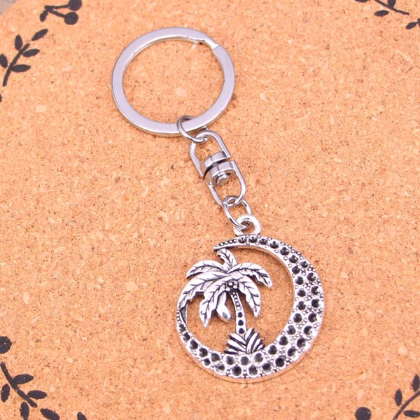 Fashion palm tree moon coconut halloween Keychain For Men Trinket Portachiavi Car Keyring Key Chain Ring Chaveiro Jewelry Gift Souvenirs