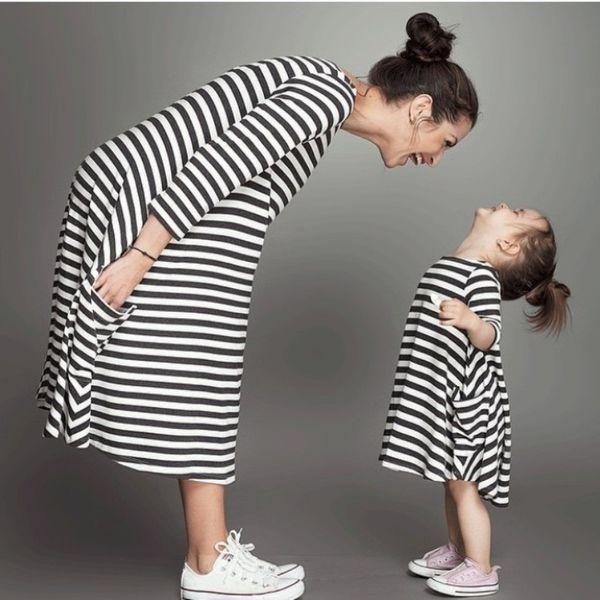 Verano Nueva madre Vestido de hija Trajes a juego Ropa para niños Raya Sin mangas Ropa informal Mamá y yo