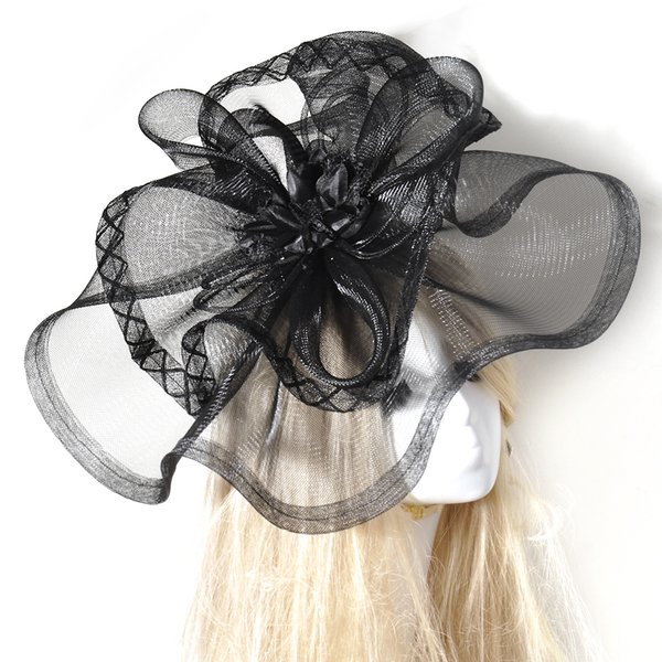 Fashion Handmade Black Lady women Large Headwear Hair Clip Hat Fascinator Hat Party Church Wedding Races Ladies Day Gift Dress Accessory