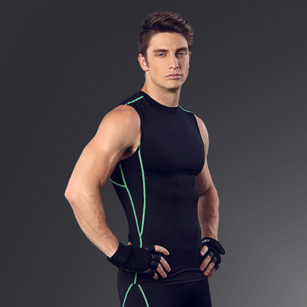 Wholesale- New quick dry bodybuilding compression tank top sleeveless t shirt men fitness workout tank tops singlets exercise clothing