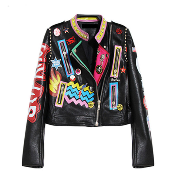 Wholesale- Autumn Women Punk Heavy Metal Short Leather Jacket Black Zipper Rivet Long Sleeve plus size Motorcycle Graffiti printing Coat