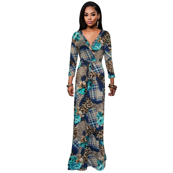L-5XL New Fashion Leopard Maxi Dress Women's short Sleeve belt Slim Printed Celebrity Party Long Dress