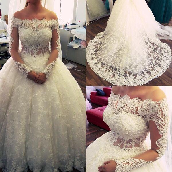 Exiquisite Illusion Spitze mit langen Ärmeln Brautkleider 2017 Modern Off Schultern Appliques Perlen Gericht Zug Brautkleider nach Maß