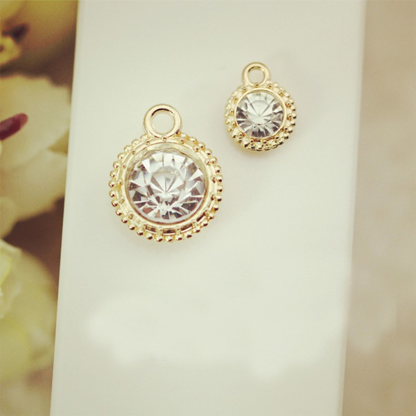 Wholesale-10pcs Fashion Jewelry Metal charms Round pendant Gold Plated Zircon imitation Diamond charm Bracelet For Women Accessories
