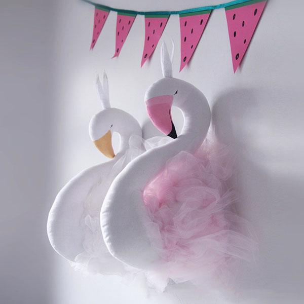 52x19cm Swan Stuffed Toys 3d Wall Hangings Animals Head Wall Mount Flamingo Sharp Room Decorations Cute Kids Girls Dolls Wedding Toys Gifts