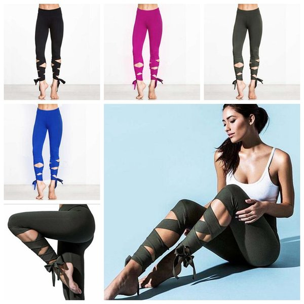4 Colors Fashion Woman Yoga Fitness Pants GYM Dance Ballet Tie Wrap Bandage ActiveTight Winding Leggings Trousers CCA6531 12pcs