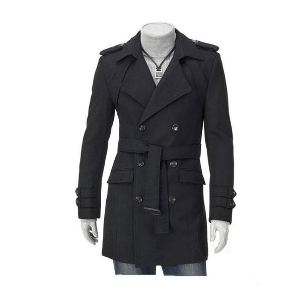 Fashion New Men Casual Shoulder Strap Double-Treasted Trench Long Coat Lapel Slim Fit Trench Coats Unique Men's Clothing