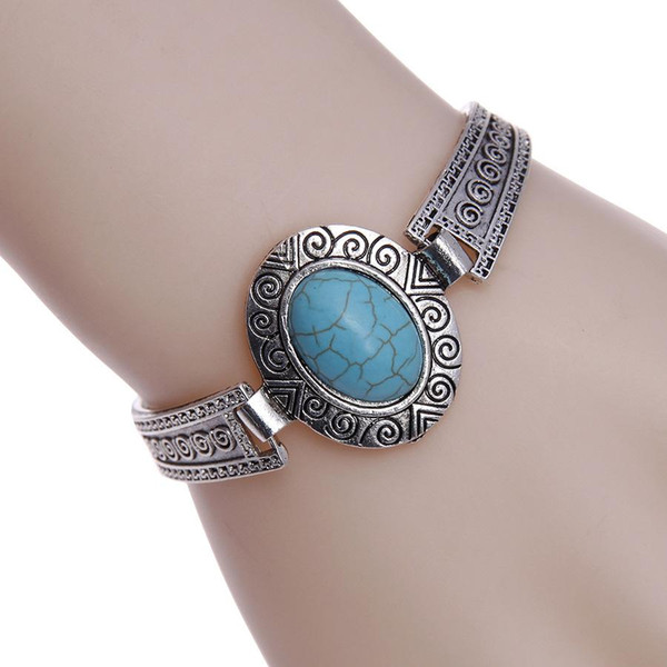 Estilo quente na Europa e na moda nova Bohemian turquesa elíptica retro pulseira pulseira atacado e comércio exterior
