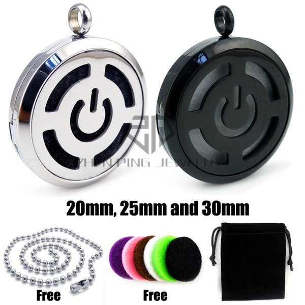Chain as gifts! Round Black Toned Power Button (20-30mm) Aromatherapy / Stainless Steel Perfume Diffuser Pendant Locket