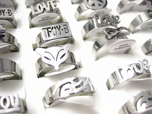 best selling wholesale bulk lots mixed styles silver women's stainless steel fashion etching rings brand new mix styles