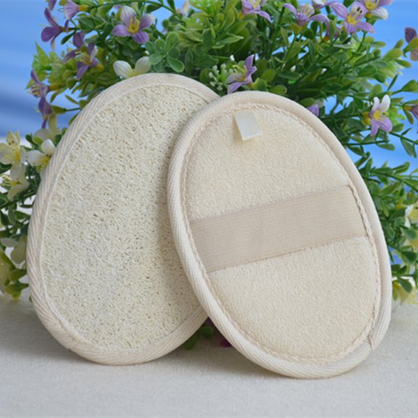 top popular 11*16cm natural loofah pad loofah scrubber remove the dead skin loofah pad sponge for home or hotal ELBA013 2019