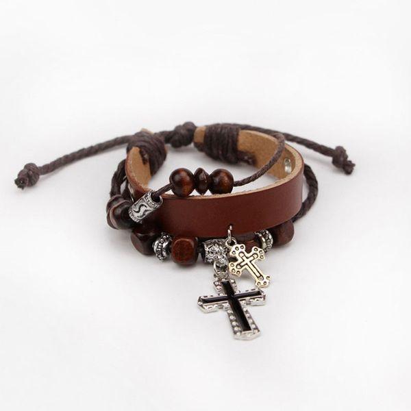 New Men women Punk Handmade Fashion Leather Rope Cross Braided Bracelet Wristband Cuff Bangle Free Shipping