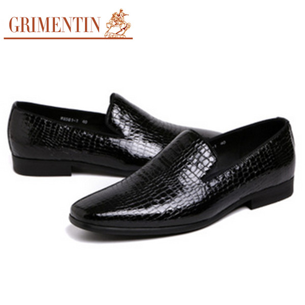 GRIMENTIN Hot sale men loafer shoes Italian fashion formal mens dress shoes genuine leather crocodile style comfortable casual male shoes